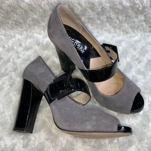 Michael Kors Mary Jane Gray Black Suede Heels 6M
